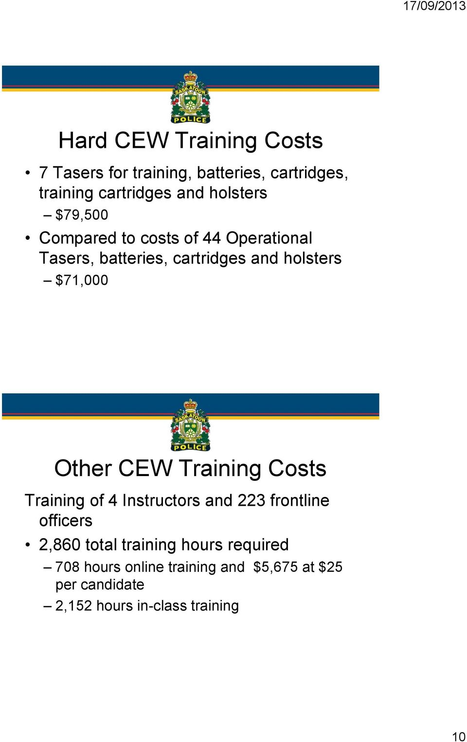 $71,000 Other CEW Training Costs Training of 4 Instructors and 223 frontline officers 2,860 total