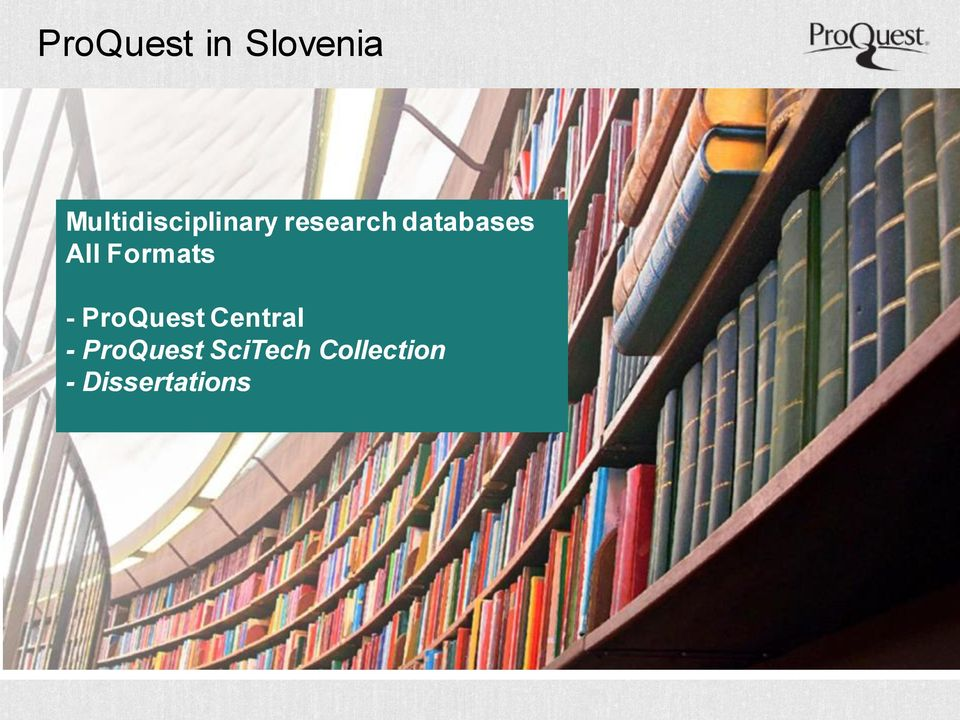 databases All Formats - ProQuest