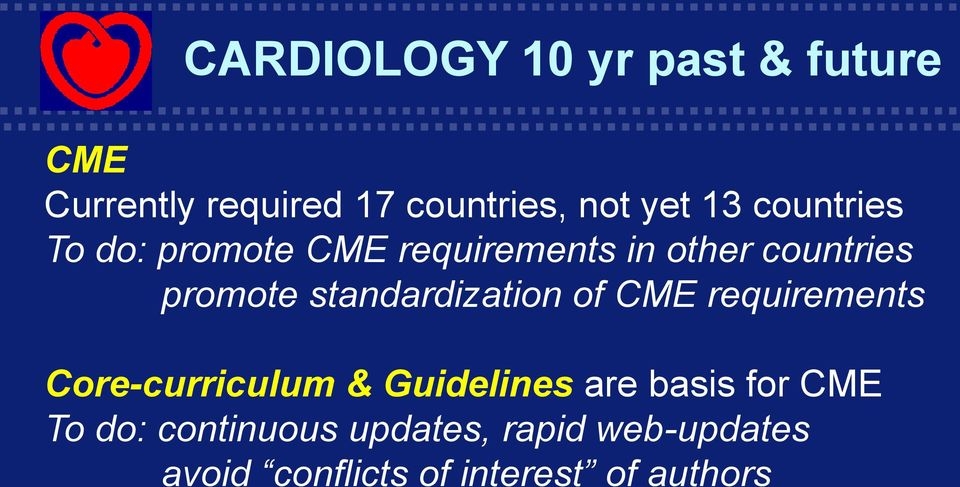 CME requirements Core-curriculum & Guidelines are basis for CME To do: