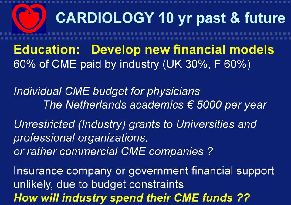 Universities and professional organizations, or rather commercial CME companies?