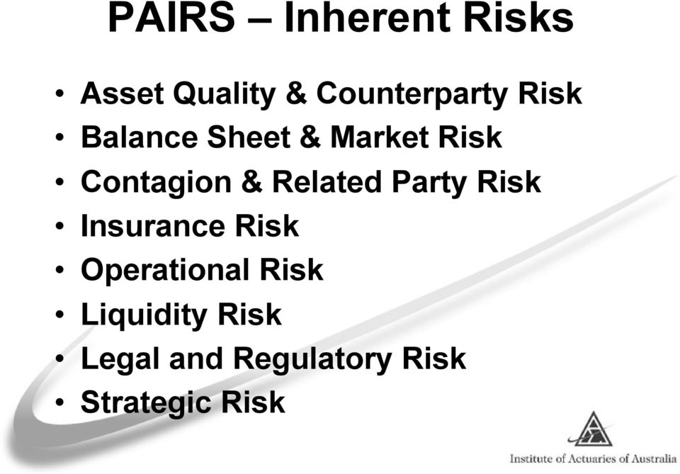 Related Party Risk Insurance Risk Operational Risk