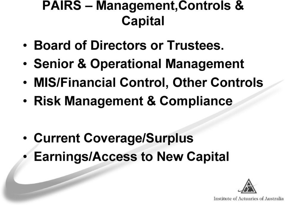 Senior & Operational Management MIS/Financial Control,