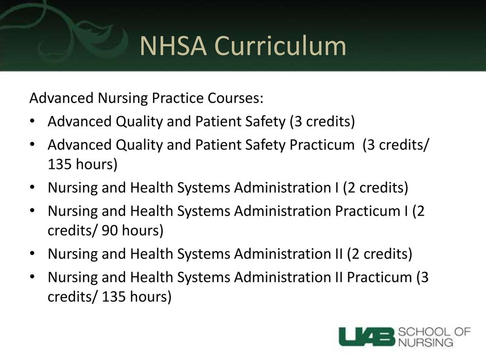 credits) Nursing and Health Systems Administration Practicum I (2 credits/ 90 hours) Nursing and Health