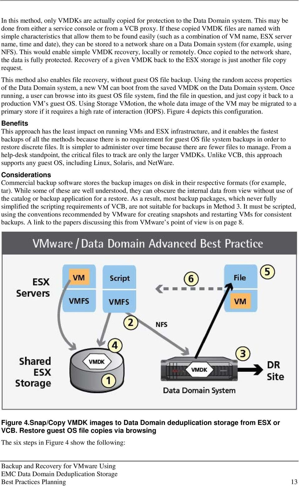 share on a Data Domain system (for example, using NFS). This would enable simple VMDK recovery, locally or remotely. Once copied to the network share, the data is fully protected.