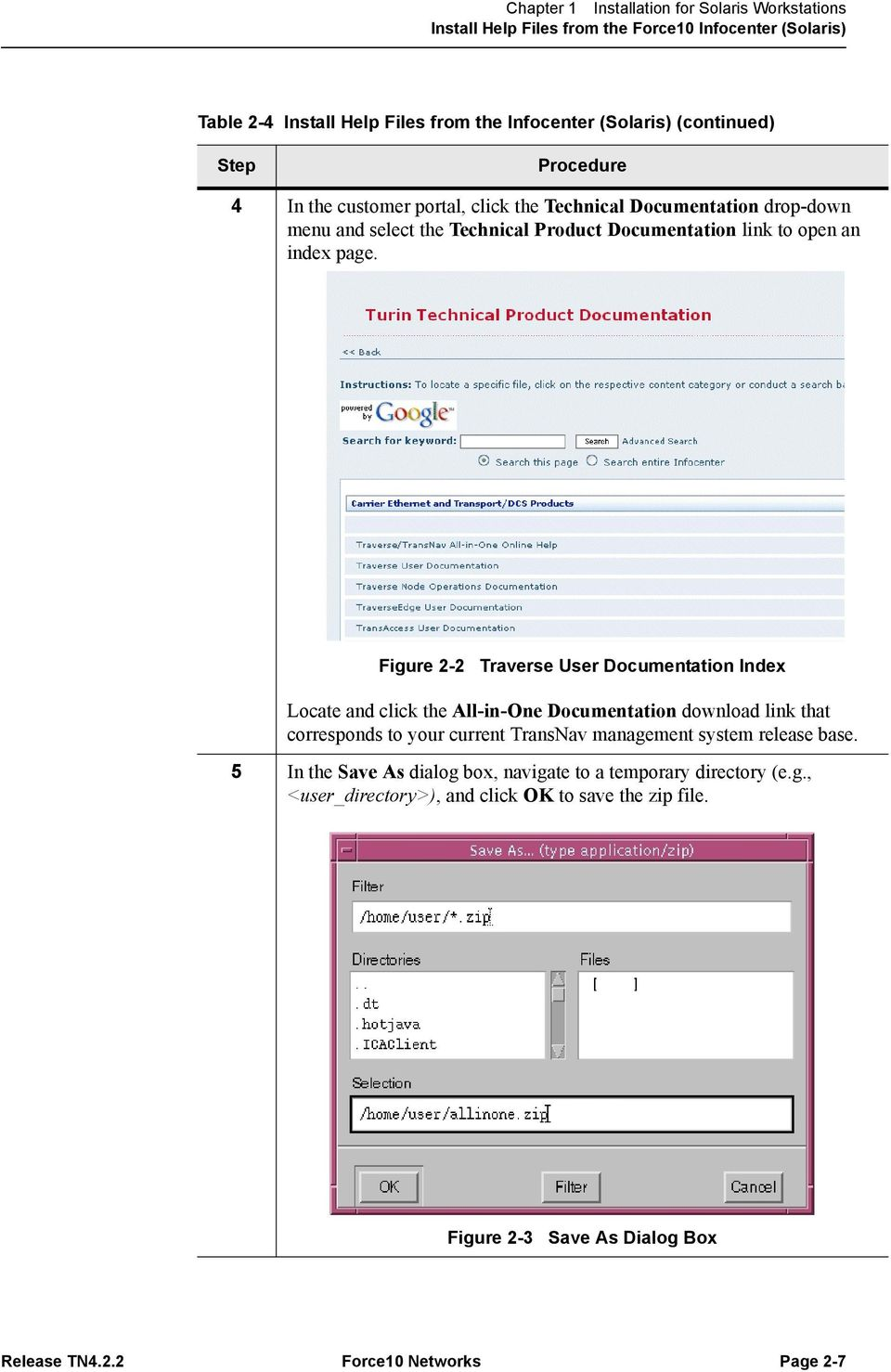 Figure 2-2 Traverse User Documentation Index Locate and click the All-in-One Documentation download link that corresponds to your current TransNav management system release