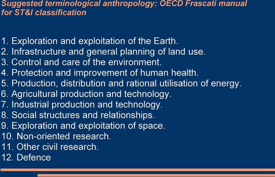 Production, distribution and rational utilisation of energy. 6. Agricultural production and technology. 7.