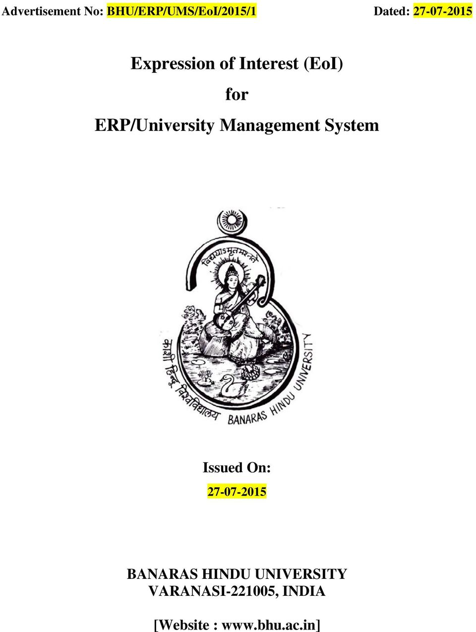 ERP/University Management System Issued On: 27-07-2015