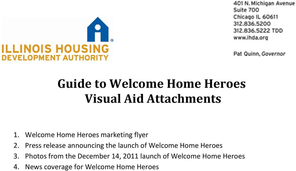 Press release announcing the launch of Welcome Home Heroes 3.