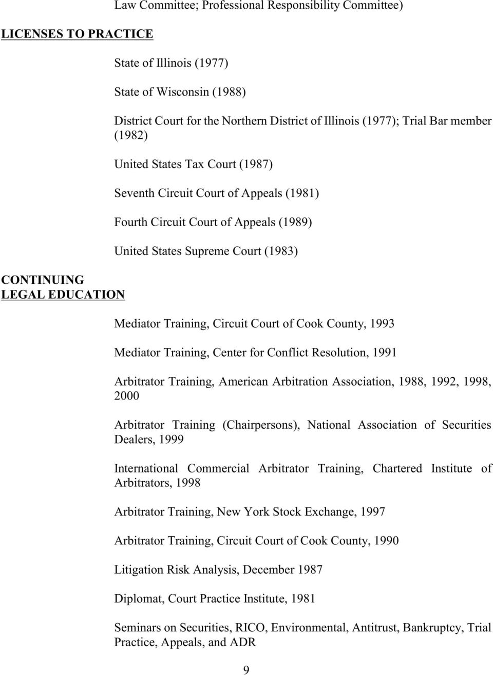 Training, Circuit Court of Cook County, 1993 Mediator Training, Center for Conflict Resolution, 1991 Arbitrator Training, American Arbitration Association, 1988, 1992, 1998, 2000 Arbitrator Training