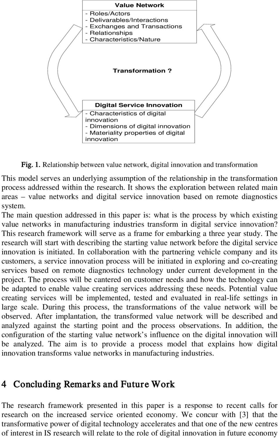 Relationship between value network, digital innovation and transformation This model serves an underlying assumption of the relationship in the transformation process addressed within the research.