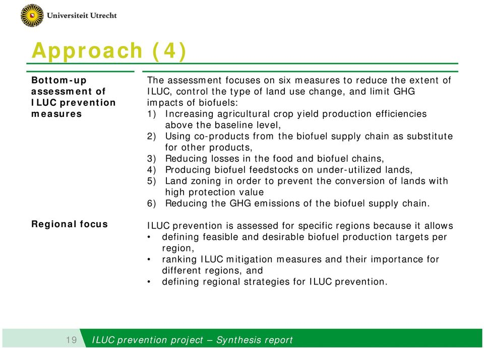 Reducing losses in the food and biofuel chains, 4) Producing biofuel feedstocks on under-utilized lands, 5) Land zoning in order to prevent the conversion of lands with high protection value 6)