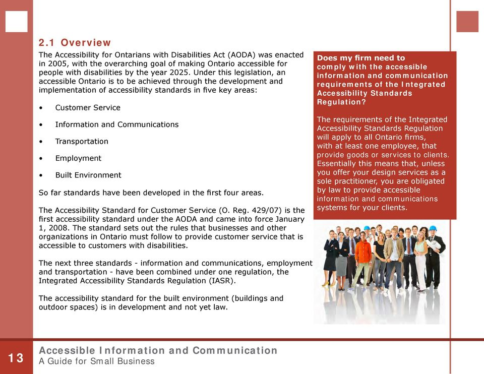 Communications Transportation Employment Built Environment So far standards have been developed in the first four areas. The Accessibility Standard for Customer Service (O. Reg.