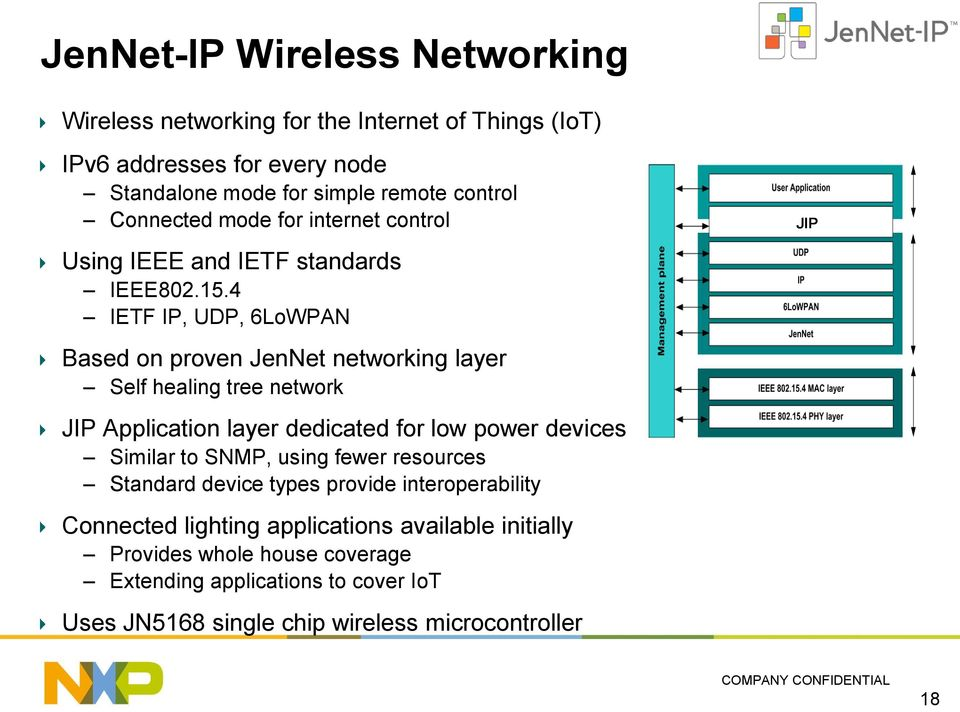 4 IETF IP, UDP, 6LoWPAN Based on proven JenNet networking layer Self healing tree network JIP Application layer dedicated for low power devices Similar to