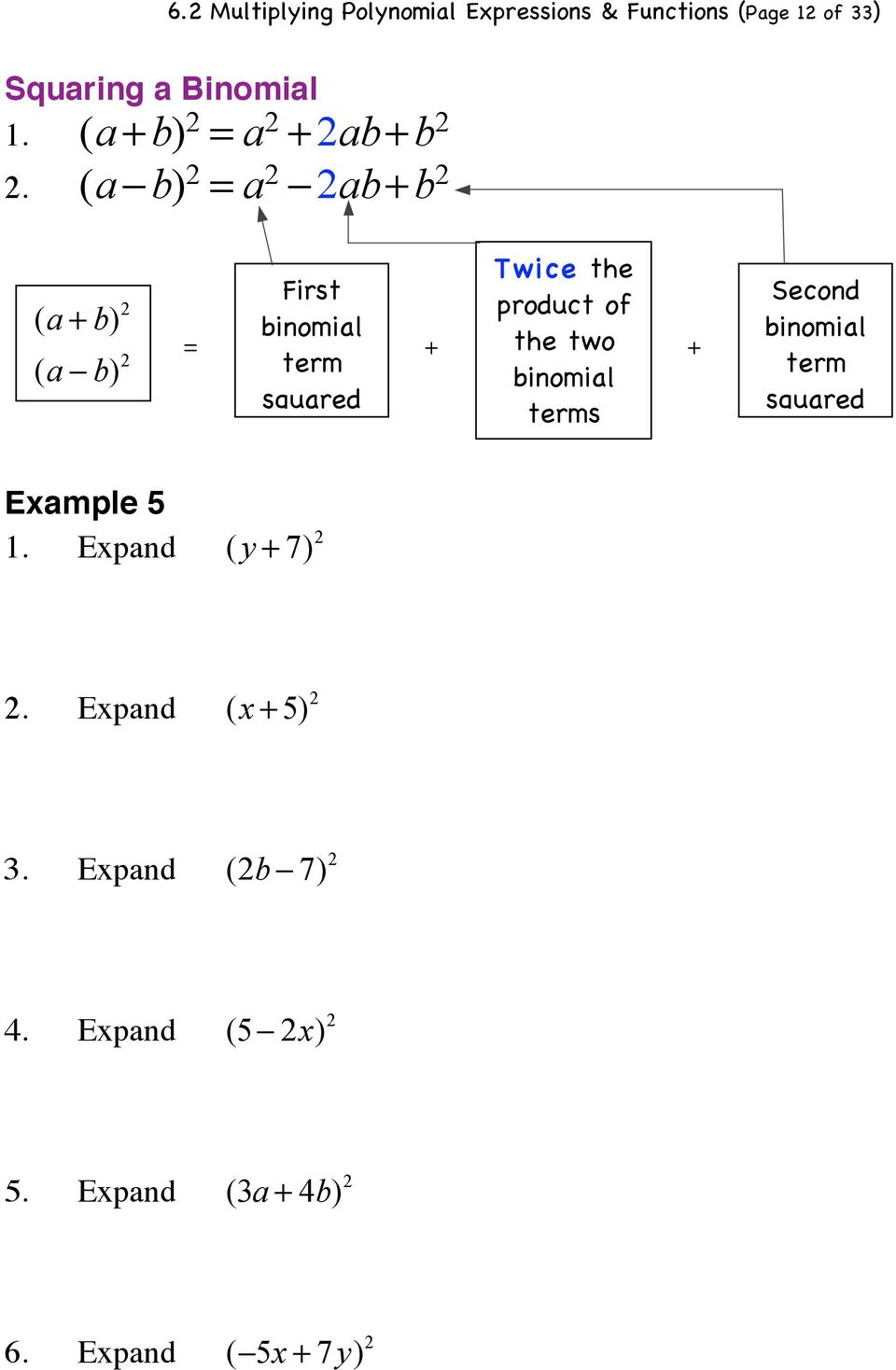 b) 2 = First binomial term squared + Twice the product of the two binomial terms + Second binomial