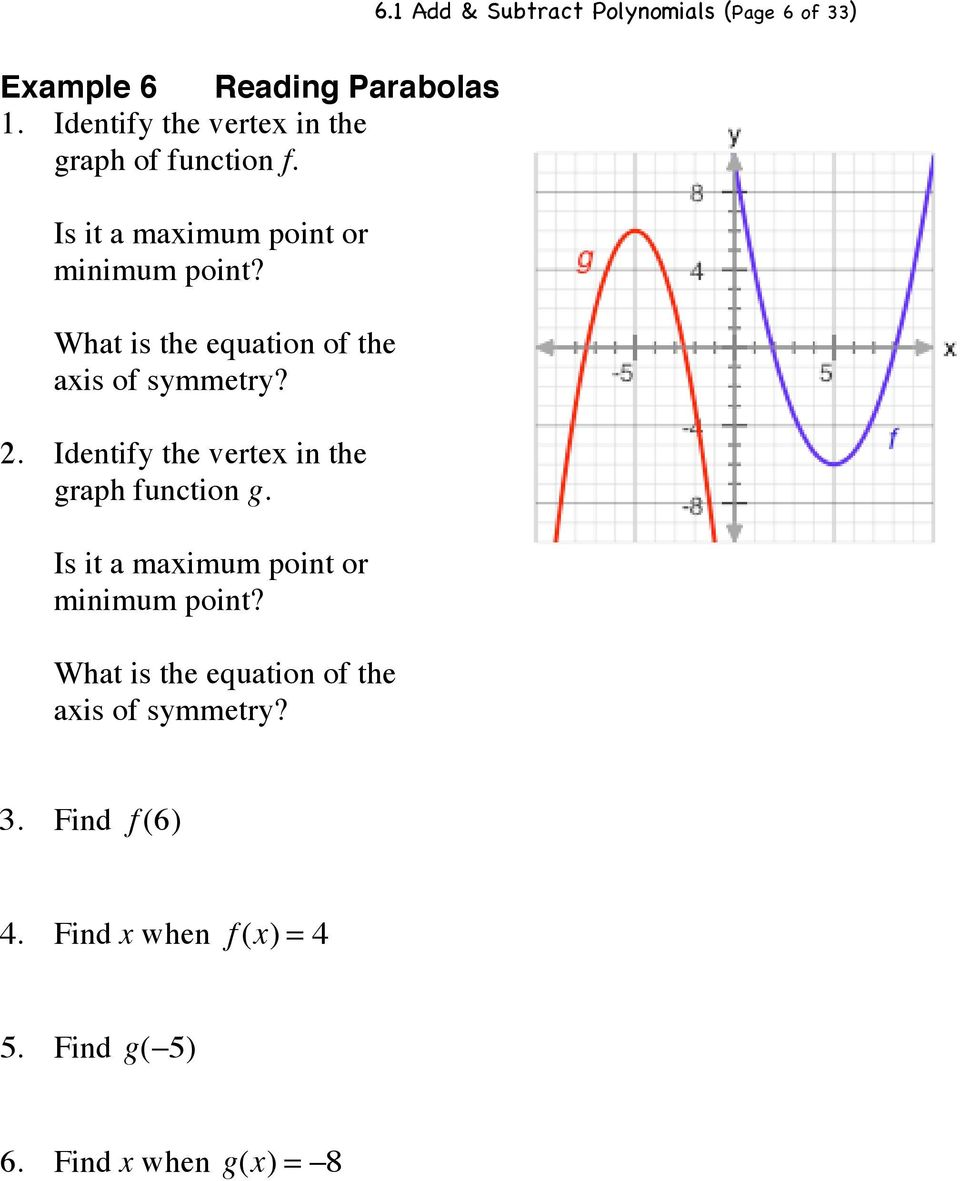 What is the equation of the axis of symmetry? 2. Identify the vertex in the graph function g.
