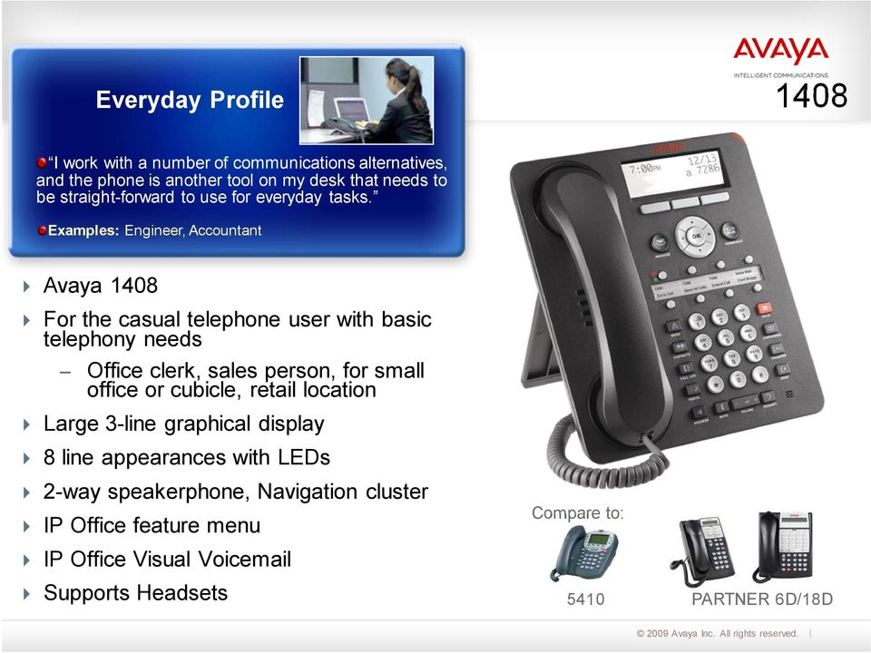 Examples: Engineer, Accountant Avaya 1408 For the casual telephone user with basic telephony needs Office clerk, sales person, for small