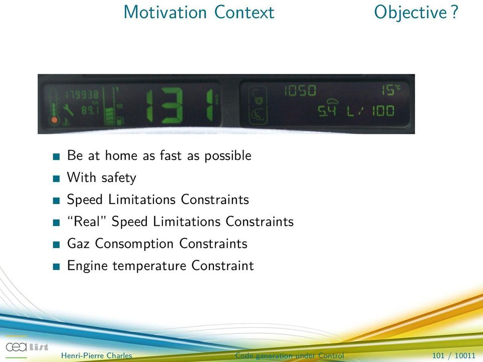 Constraints Real Speed Limitations Constraints Gaz Consomption