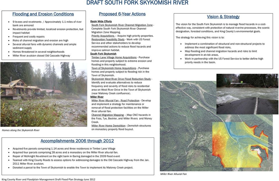 alluvial fans with dynamic channels and ample sediment supply Homes threatened in several neighborhoods Miller River avulsion closed Old Cascade Highway Homes along the Skykomish River Proposed