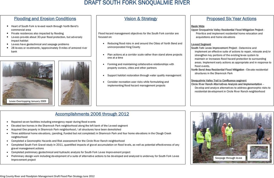 objectives for the South Fork corridor are focused on: Reducing flood risks in and around the Cities of North Bend and unincorporated King County Plan actions at a corridor scale rather than stand