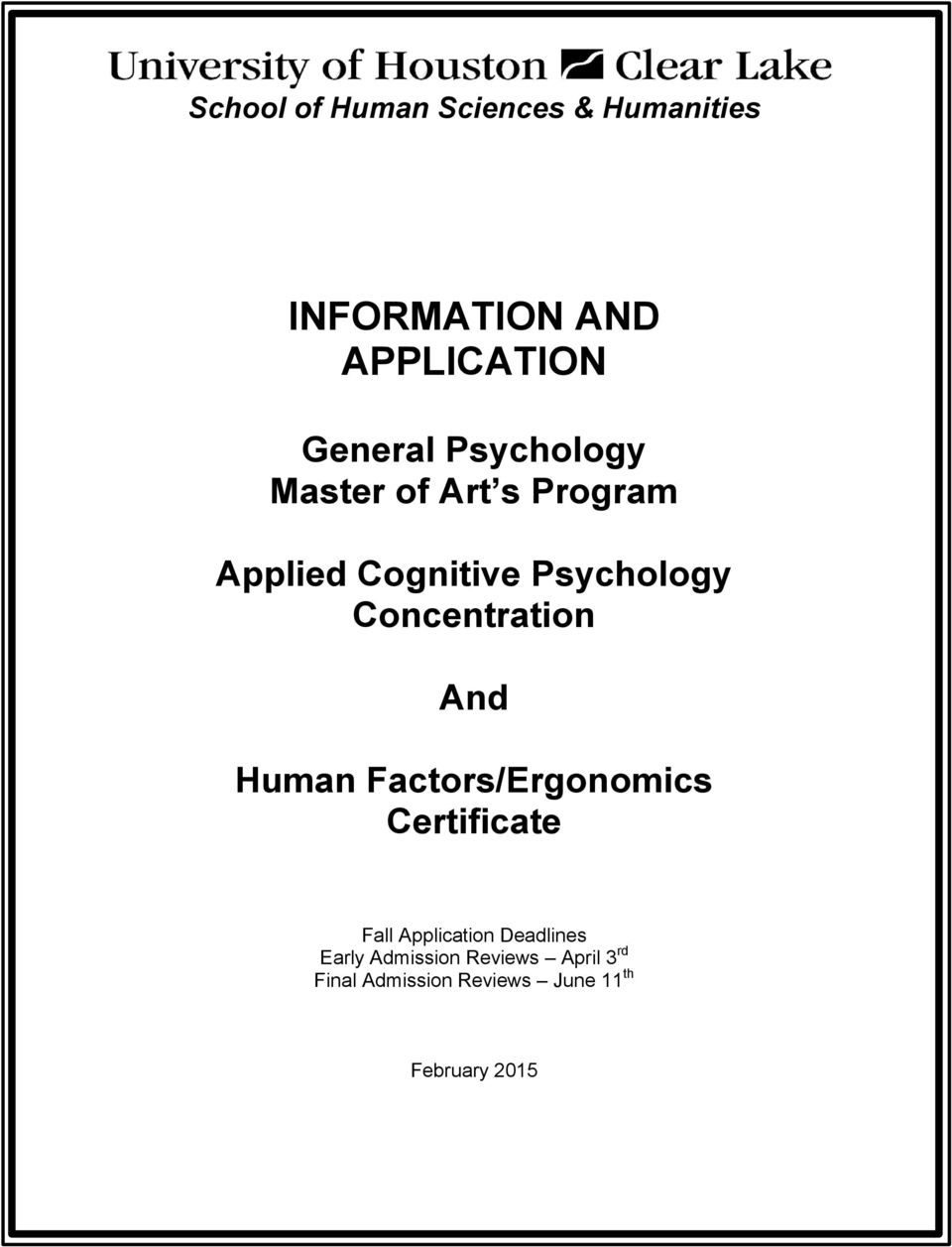 Concentration And Human Factors/Ergonomics Certificate Fall Application