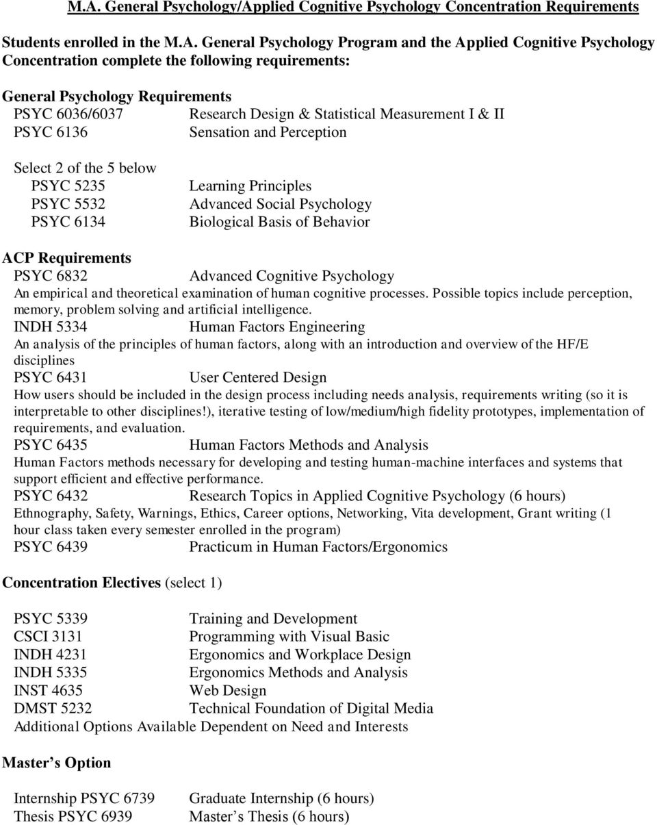 5532 PSYC 6134 Learning Principles Advanced Social Psychology Biological Basis of Behavior ACP Requirements PSYC 6832 Advanced Cognitive Psychology An empirical and theoretical examination of human