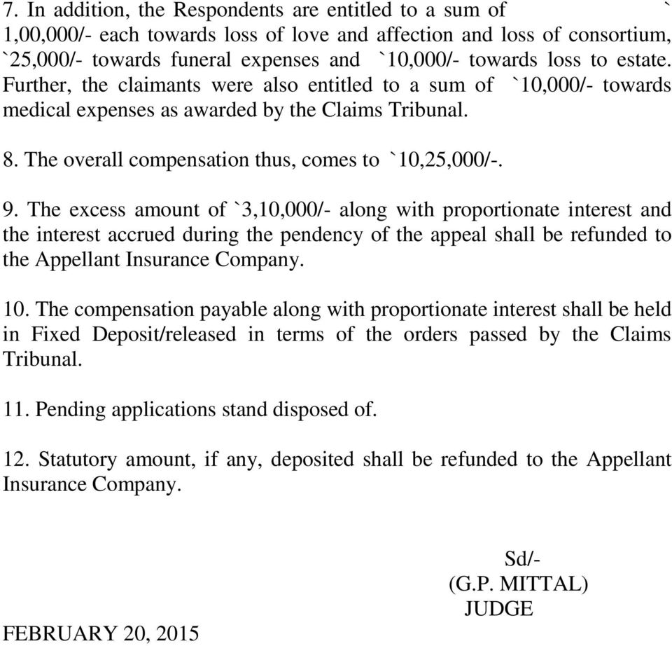 The excess amount of `3,10,000/- along with proportionate interest and the interest accrued during the pendency of the appeal shall be refunded to the Appellant Insurance Company. 10.