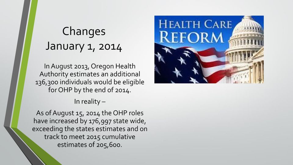 In reality As of August 15, 2014 the OHP roles have increased by 176,997 state