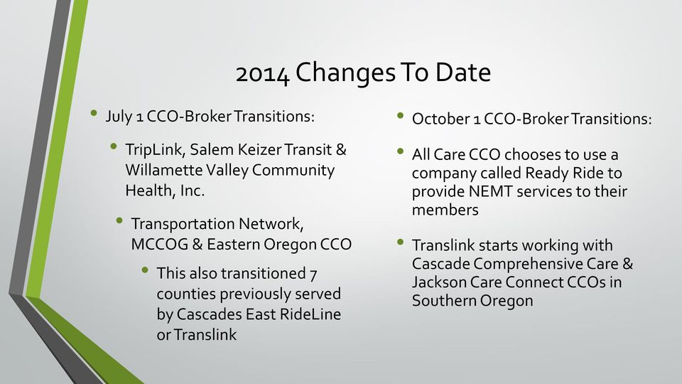 RideLine or Translink October 1 CCO-Broker Transitions: All Care CCO chooses to use a company called Ready Ride to provide