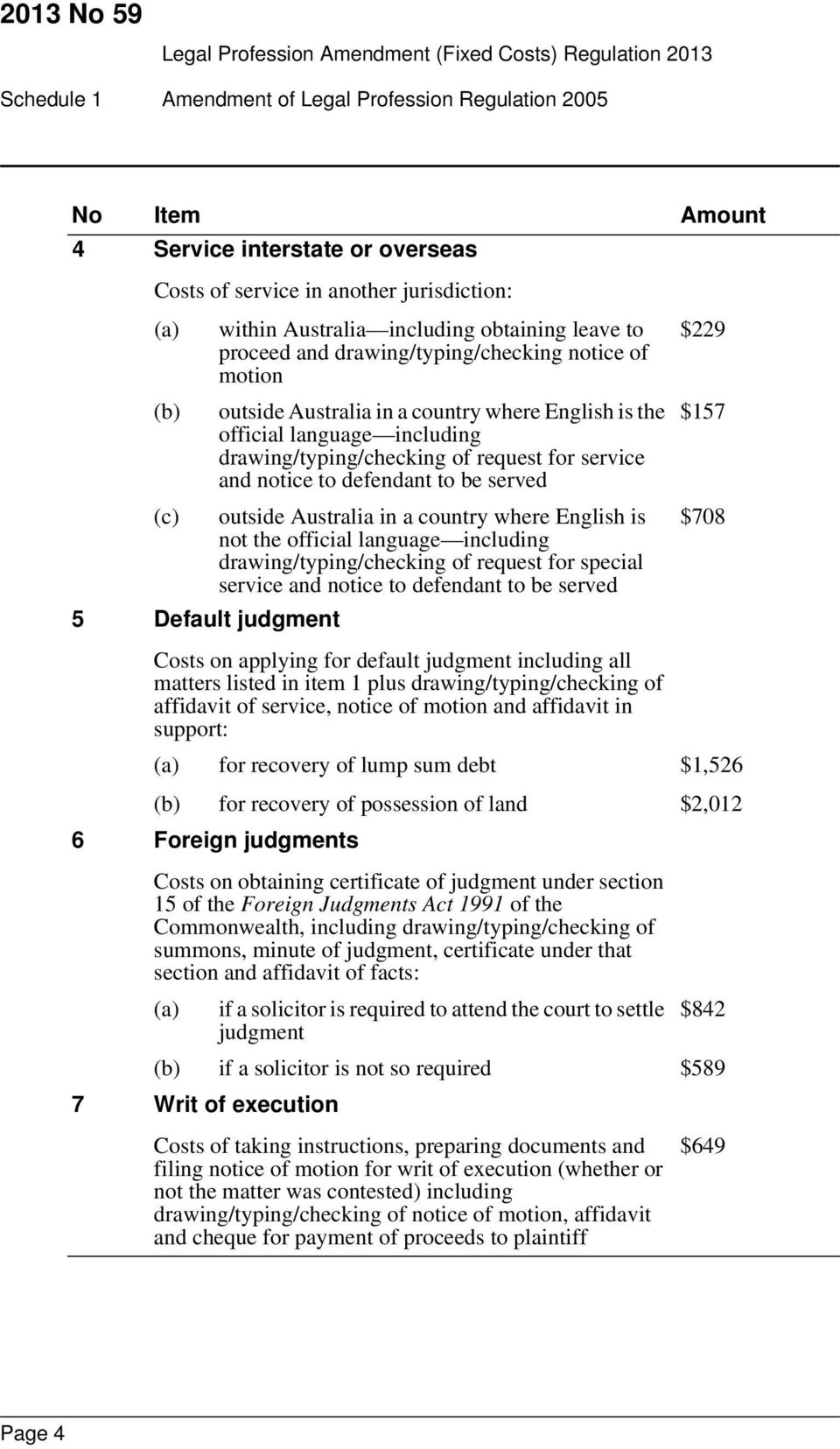 be served (c) outside Australia in a country where English is not the official language including drawing/typing/checking of request for special service and notice to defendant to be served 5 Default