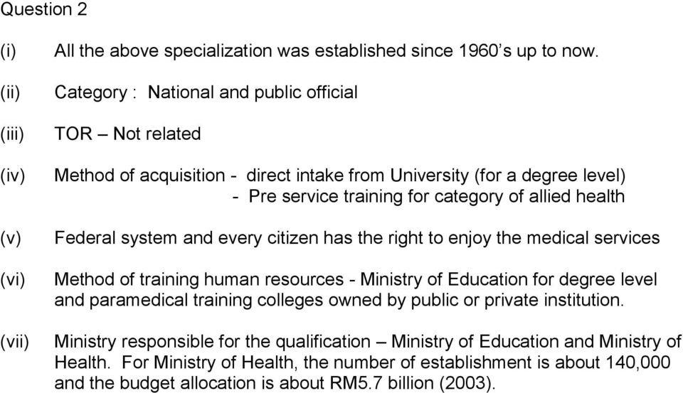 health Federal system and every citizen has the right to enjoy the medical services Method of training human resources - Ministry of Education for degree level and paramedical