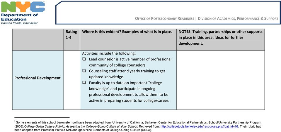 i Some elements of this school barometer tool have been adapted from: University of California, Berkeley, Center for Educational Partnerships, School/University Partnership Program (2008).