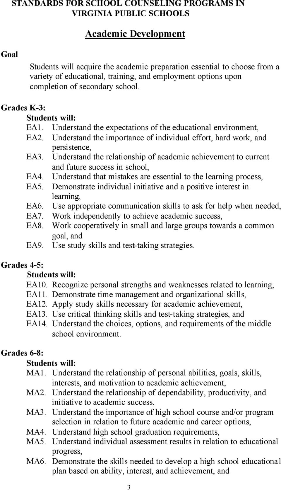 Understand the importance of individual effort, hard work, and persistence, EA3. Understand the relationship of academic achievement to current and future success in school, EA4.