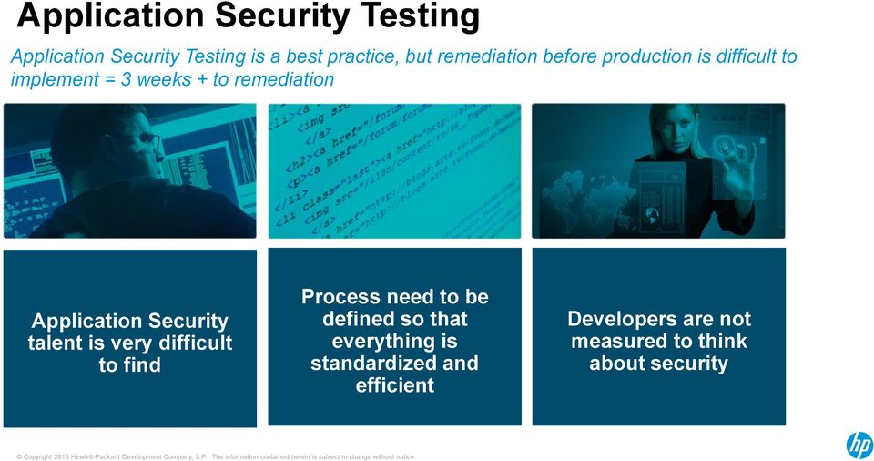 Application Security talent is very difficult to find Process need to be defined so