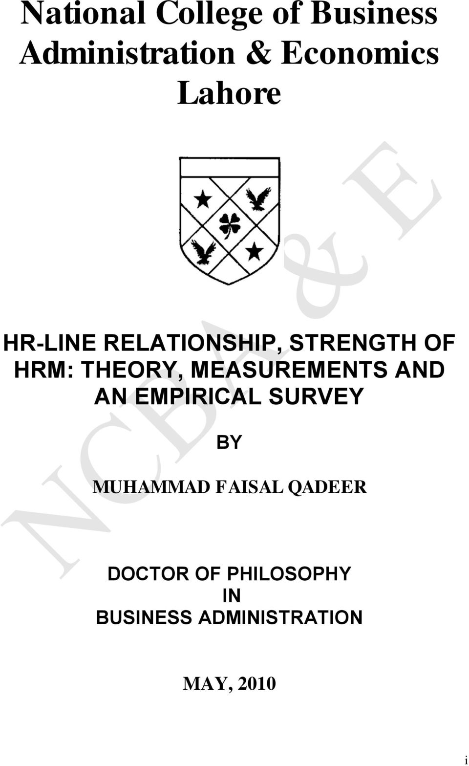 MEASUREMENTS AND AN EMPIRICAL SURVEY BY MUHAMMAD FAISAL