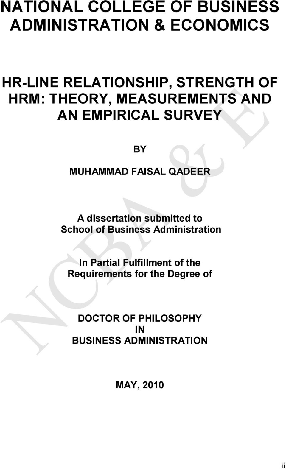 dissertation submitted to School of Business Administration In Partial Fulfillment of