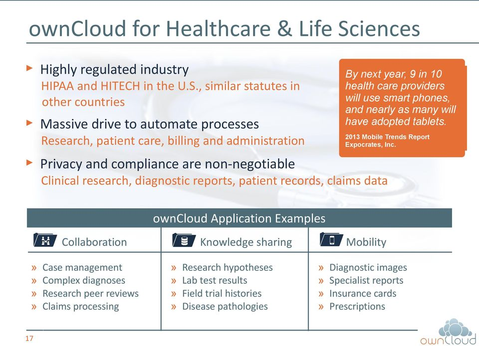 Privacy and compliance are non-negotiable Clinical research, diagnostic reports, patient records, claims data owncloud Application Examples Collaboration 17 Case management Complex diagnoses