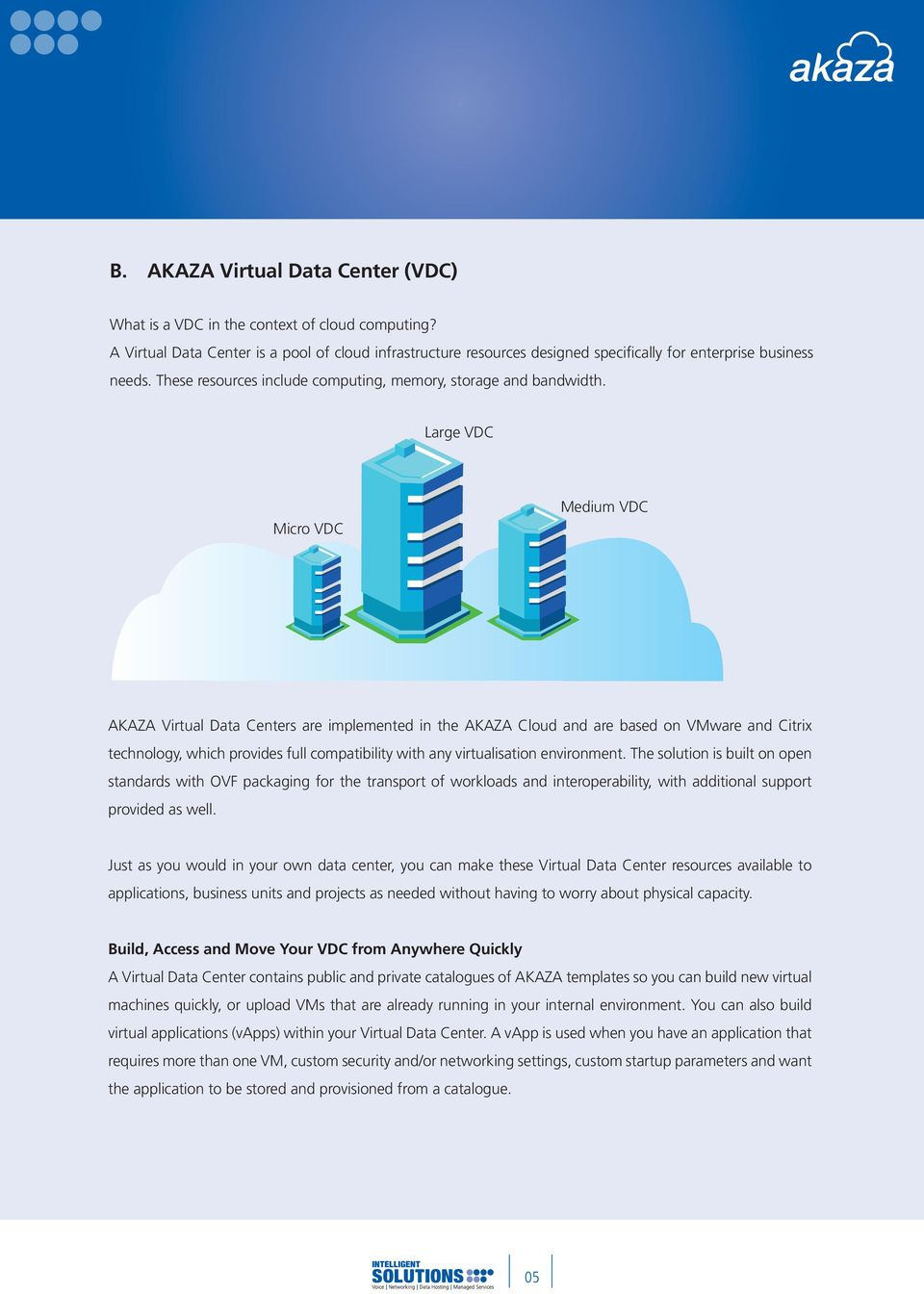 Large VDC Micro VDC Medium VDC AKAZA Virtual Data Centers are implemented in the AKAZA Cloud and are based on VMware and Citrix technology, which provides full compatibility with any virtualisation
