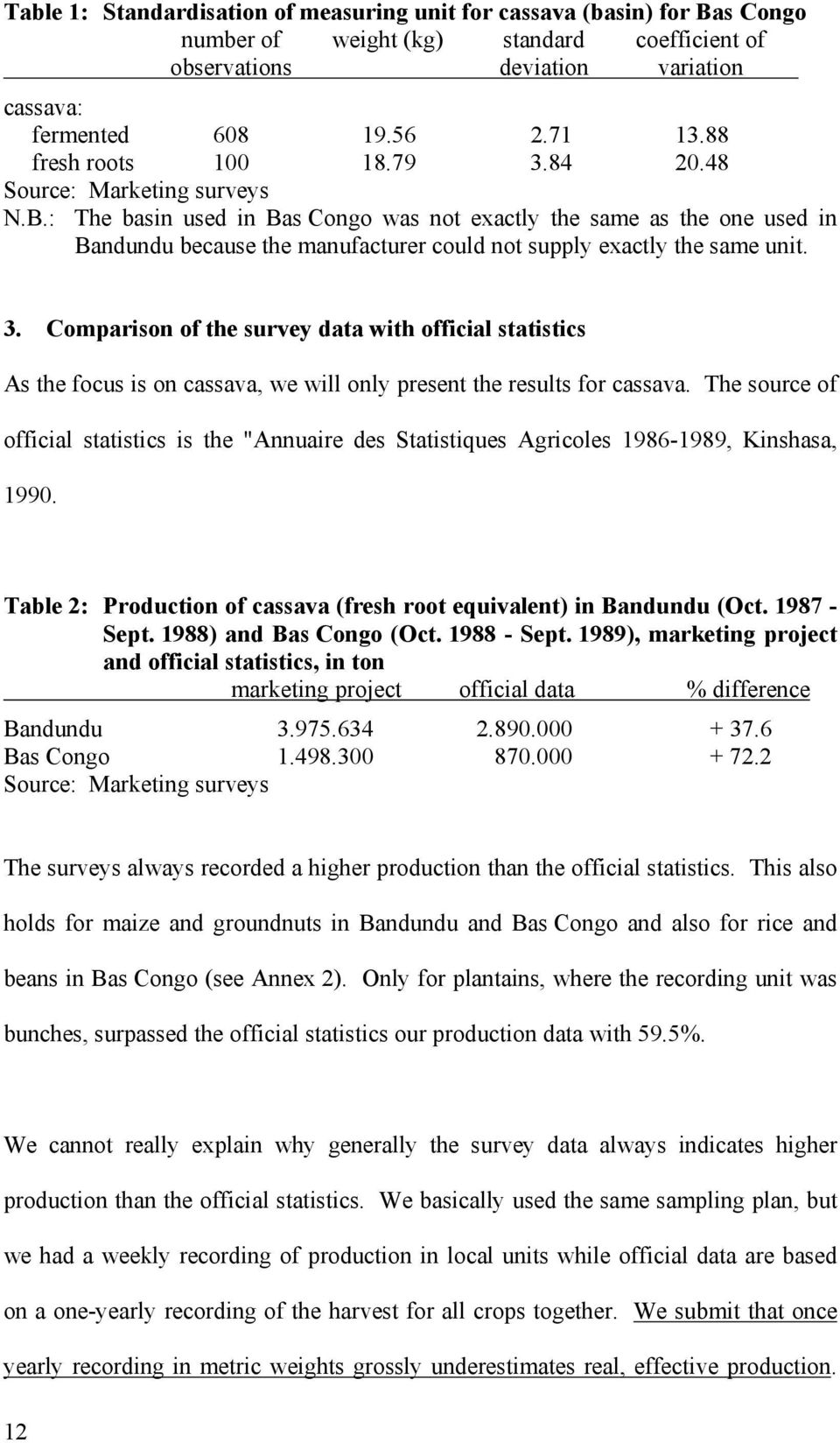 : The basin used in Bas Congo was not exactly the same as the one used in Bandundu because the manufacturer could not supply exactly the same unit. 3.