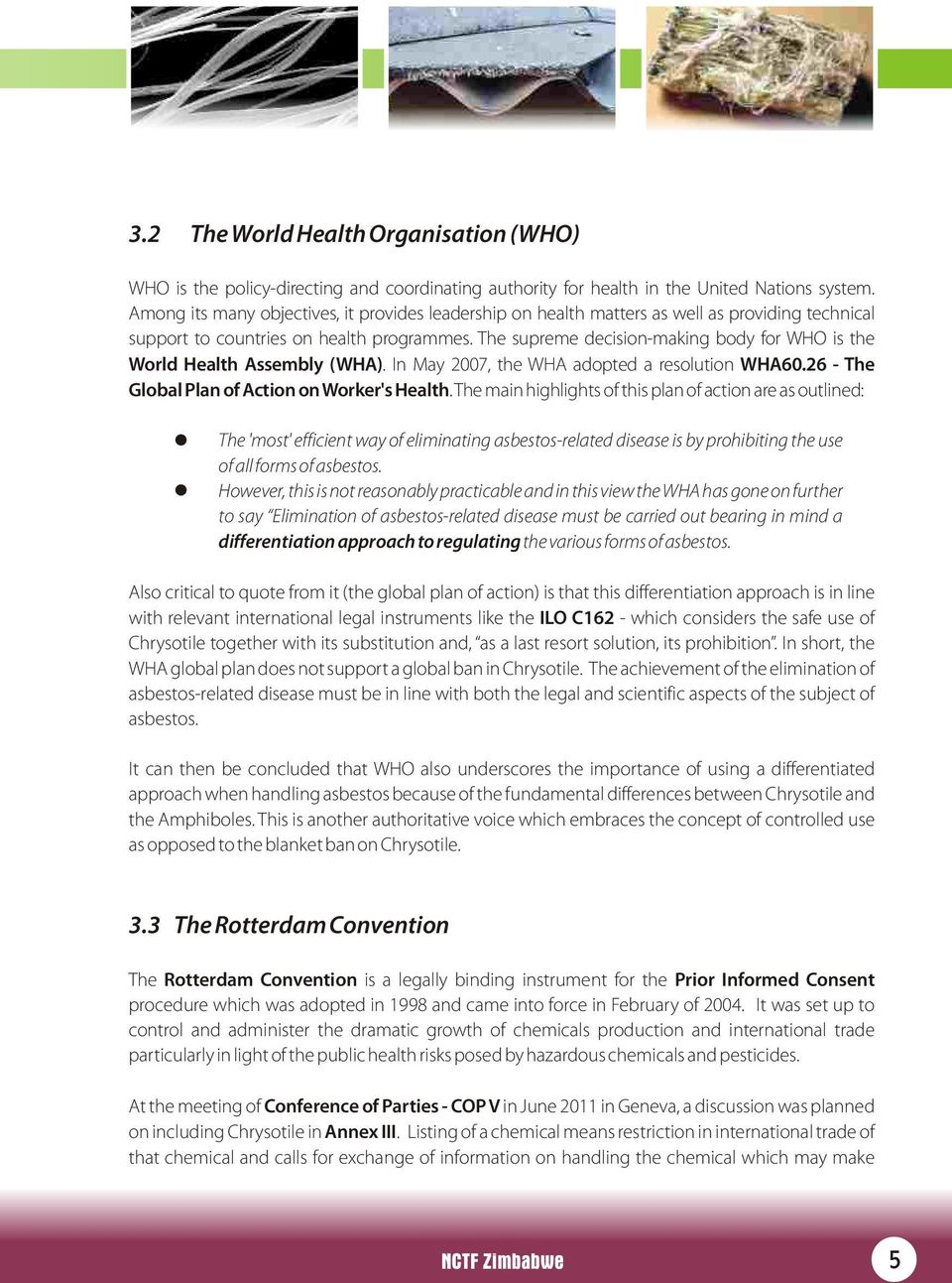 The supreme decision-making body for WHO is the World Health Assembly (WHA). In May 2007, the WHA adopted a resolution WHA60.26 - The Global Plan of Action on Worker's Health.