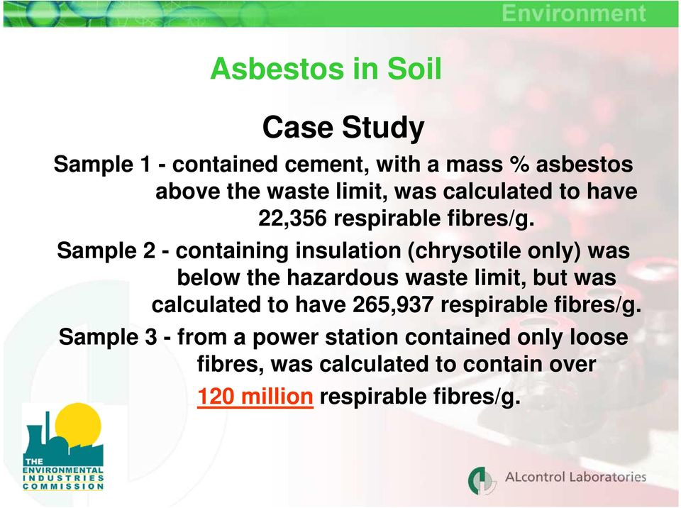 Sample 2 - containing insulation (chrysotile only) was below the hazardous waste limit, but was