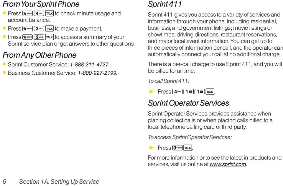Sprint 411 Sprint 411 gives you access to a variety of services and information through your phone, including residential, business, and government listings; movie listings or showtimes; driving