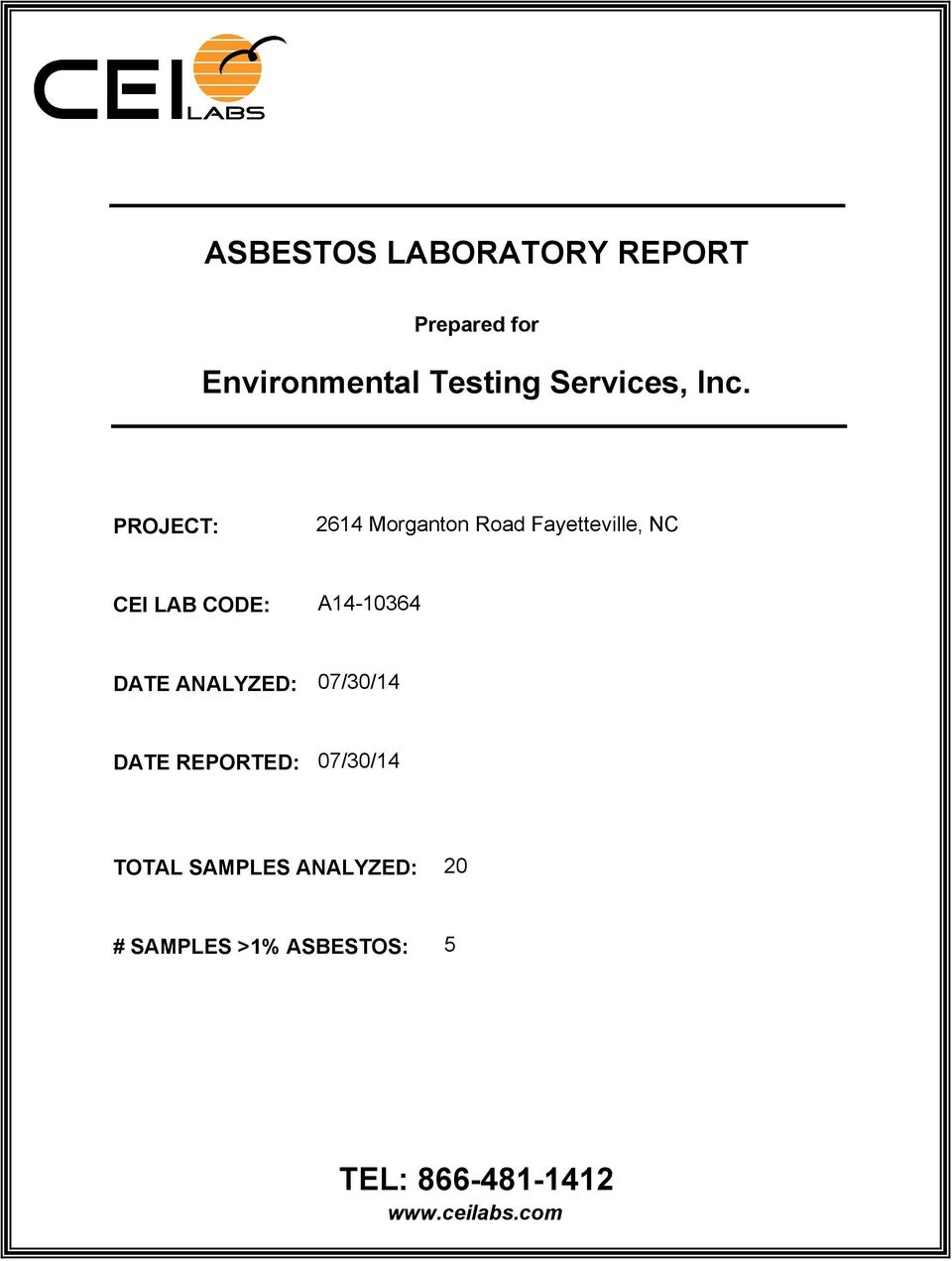 ANALYZED: 07/30/14 DATE REPORTED: 07/30/14 TOTAL SAMPLES