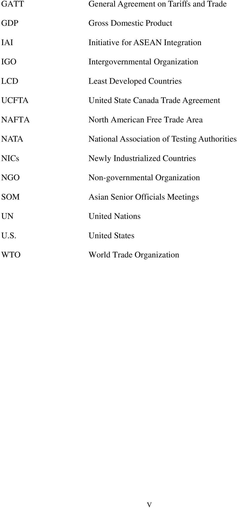WTO General Agreement on Tariffs and Trade Gross Domestic Product Initiative for ASEAN Integration Intergovernmental