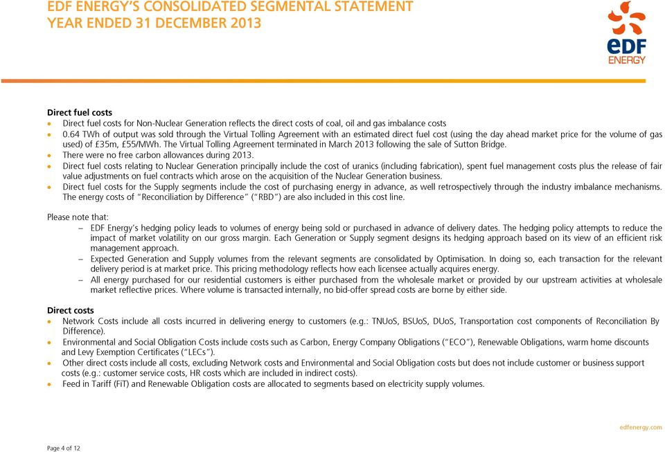 Edf Energy S Consolidated Segmental Statement Year Ended 31 December Pdf