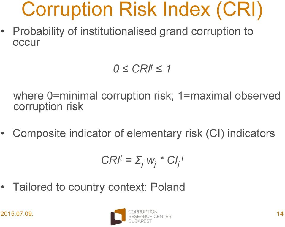 observed corruption risk Composite indicator of elementary risk (CI)