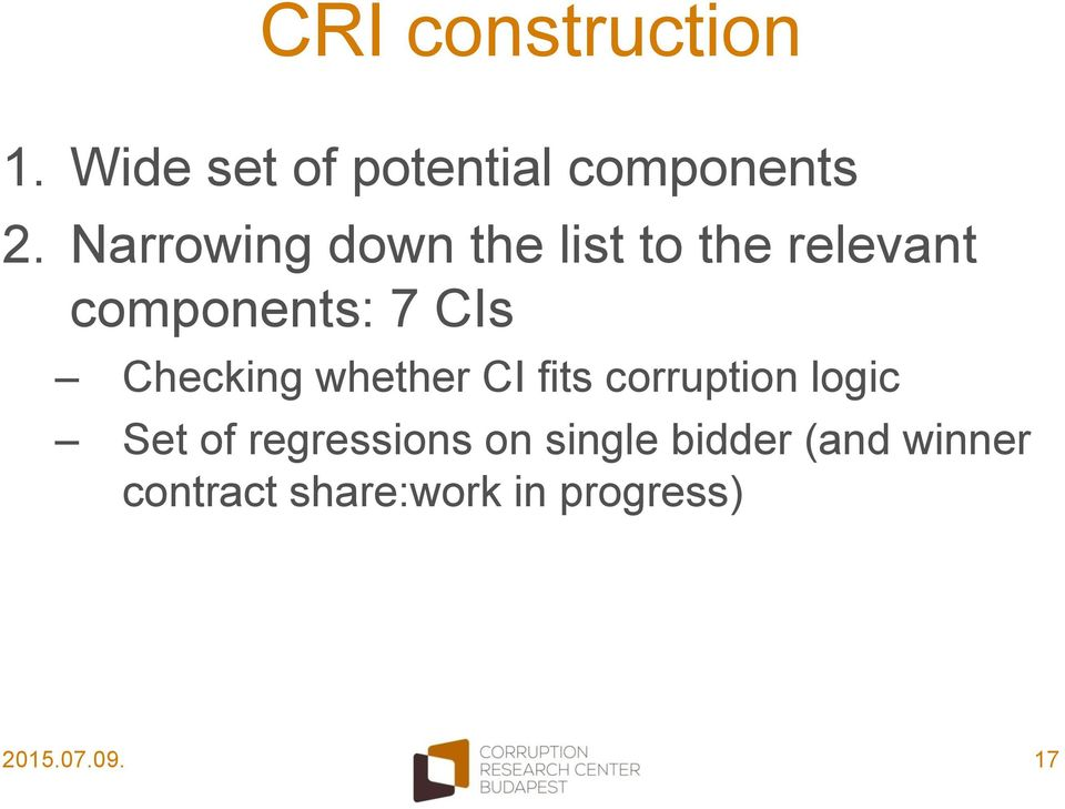 Checking whether CI fits corruption logic Set of regressions