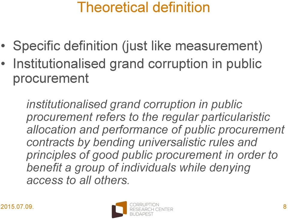 particularistic allocation and performance of public procurement contracts by bending universalistic rules and