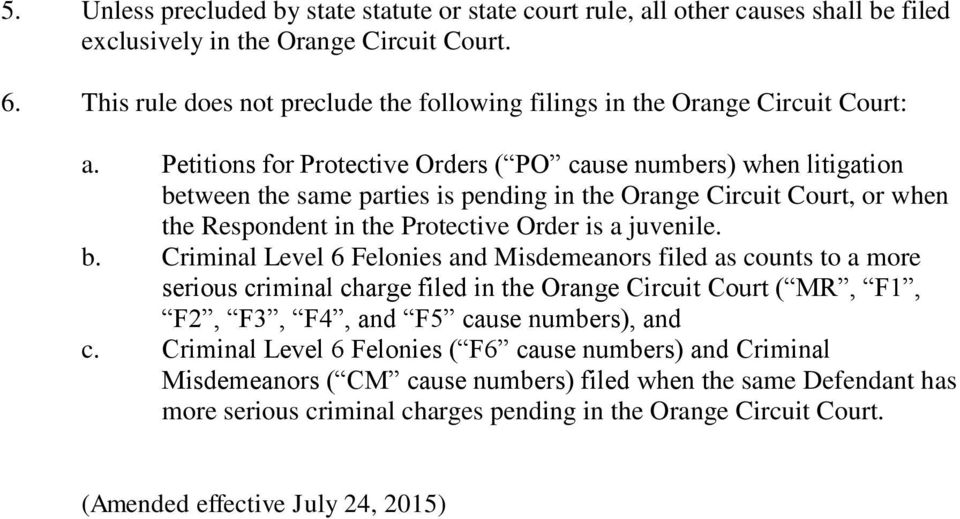 Petitions for Protective Orders ( PO cause numbers) when litigation be