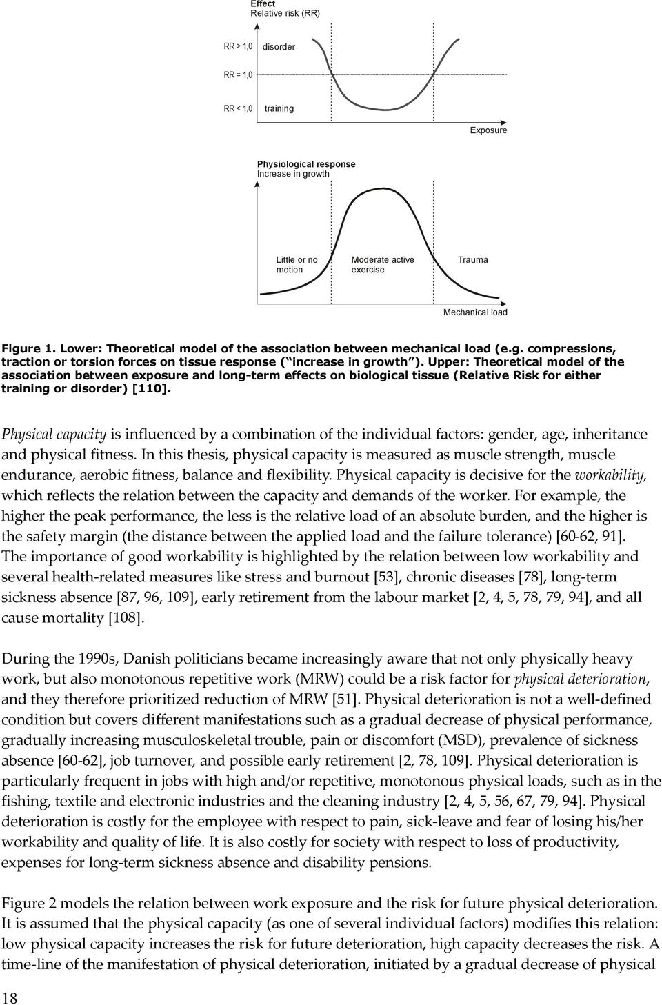 Upper: Theoretical model of the association between exposure and long-term effects on biological tissue (Relative Risk for either training or disorder) [110].
