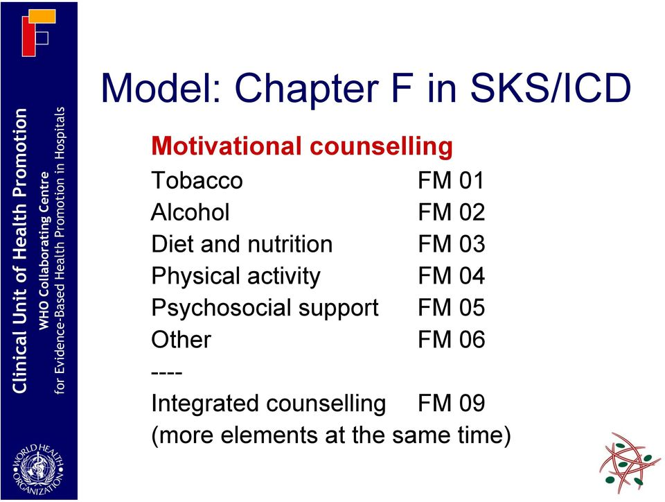 Physical activity FM 04 Psychosocial support FM 05 Other